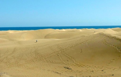 Diesen Blick vom RIU auf die Dünen gibt es erst ab Ende Mai wieder.
