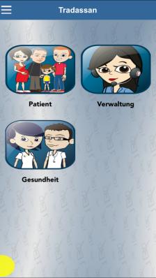 Startseite der App - über die Streifen links oben geht es in Menü, unter anderem zu den Einstellungen.